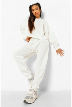 White Petite Crop Sweat And Jogger Tracksuit