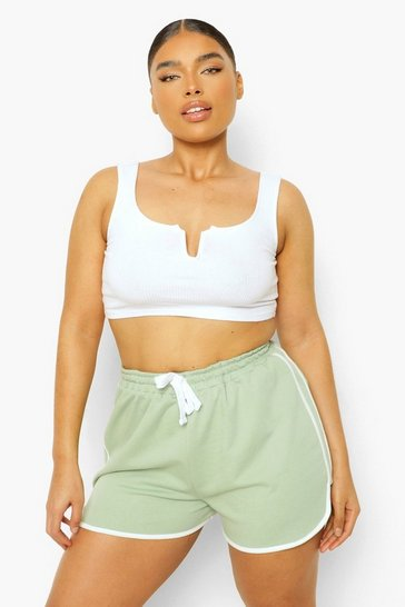 Sage green Plus Loopback Contrast Trim Runner Shorts