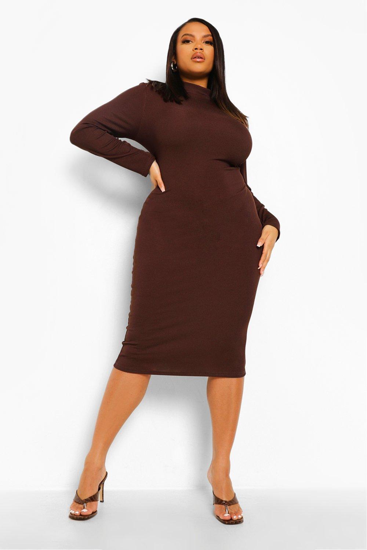 Plus Rib High Neck Midi Bodycon Dress 4