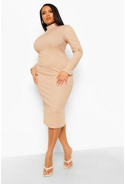 Plus Rib High Neck Midi Bodycon Dress, Stone beige