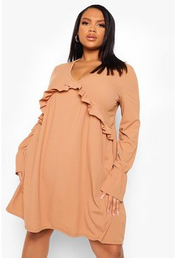 Plus Rib Frill Detail Smock Dress, Camel beige
