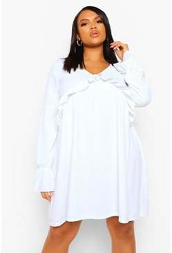 White Plus Rib Frill Detail Smock Dress