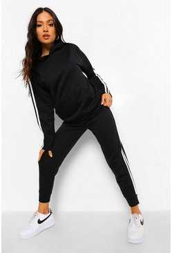 Black Petite Side Stripe Hoody And Jogger Tracksuit