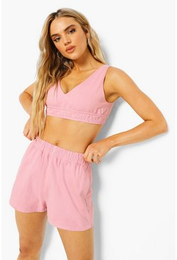Baby pink pink Petite Backless Denim Bralet
