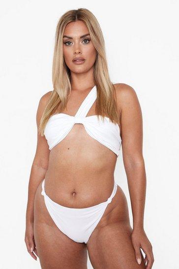 White Plus Knot One Shoulder Bandeau Bikini Top