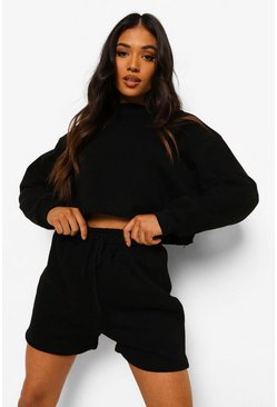 Black Petite Crop Sweat And Short Set