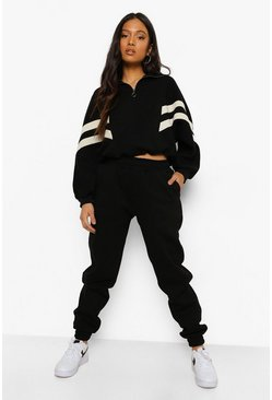 Black Petite Panel Detail Half Zip Tracksuit