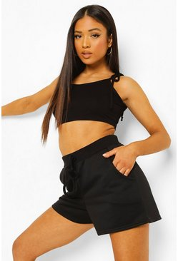 Black Petite Tie Strap Crop Top And Short Set