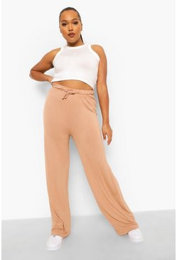 Stone beige Plus Jersey Wide Leg Trouser