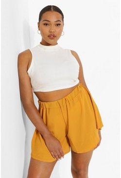 Mustard yellow Plus Woven Ruched Waist Flippy Short