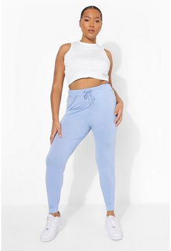 Light blue blue Plus Ruched Tie Waist Leggings