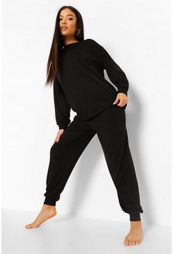 Black Petite Drop Shoulder Jogger Tracksuit