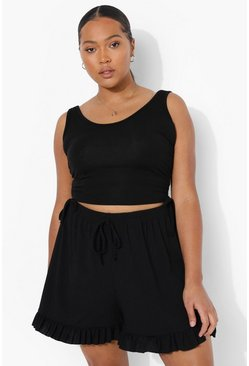 Black Plus Rib Ruffle Hem Flippy Short