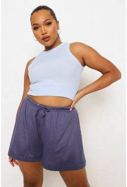 Blue Plus Roll Hem Rib Flippy Short