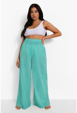 Aqua blue Plus Cotton Beach Trousers