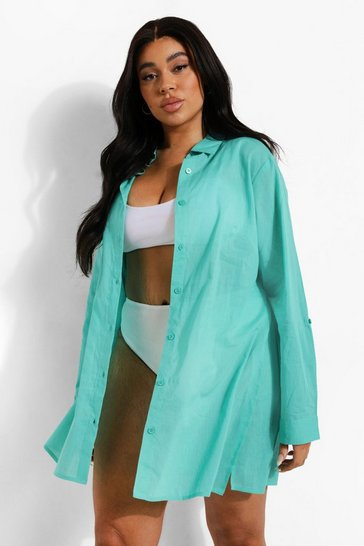 Aqua blue Plus Cotton Beach Shirt