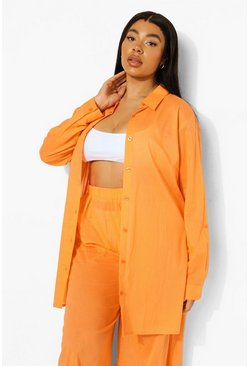 Orange Plus Cotton Beach Shirt