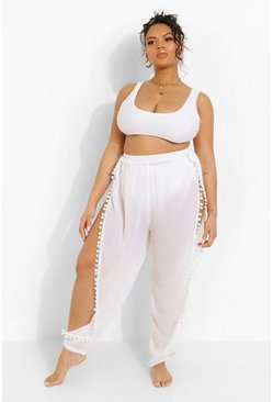 White Plus Pom Pom Beach Trousers
