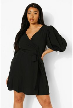 Black Plus Woven Balloon Sleeve Wrap Dress