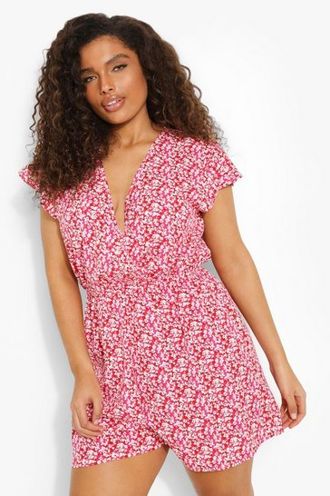 Pink Plus  Floral Ruffle Sleeve Playsuit