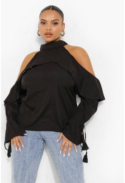 Plus Ruffle Cold Shoulder Top, Black nero