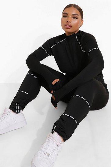 Black Plus Tape Trim Body Contour Active Leggings