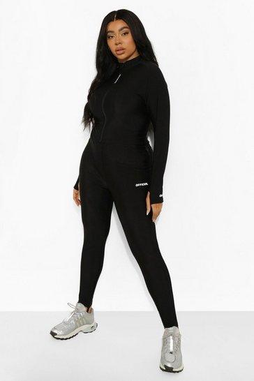 Black Plus High Shine Body Control Active Leggings