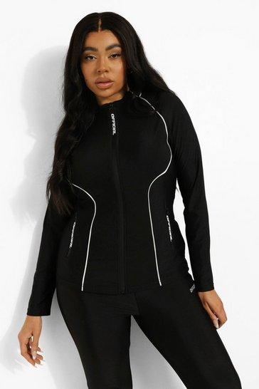 Black Plus High Shine Funnel Neck Active Zip Jacket