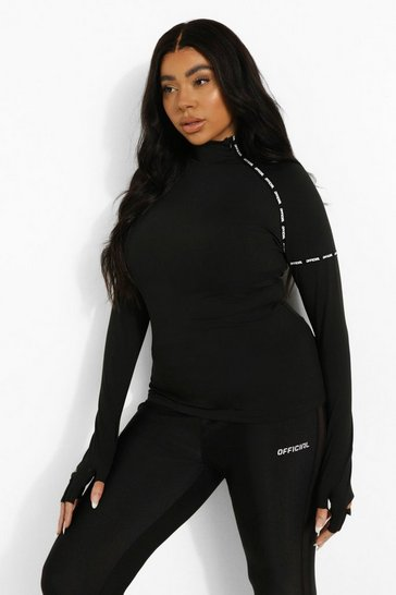 Black Plus Tape Funnel Neck Active Top With Gloves