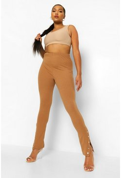 Camel beige Plus  Popper Hem Ribbed Leggings