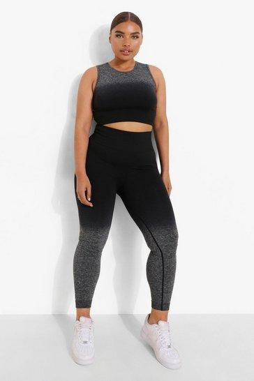 Black Plus Ombre Seamfree Active Leggings