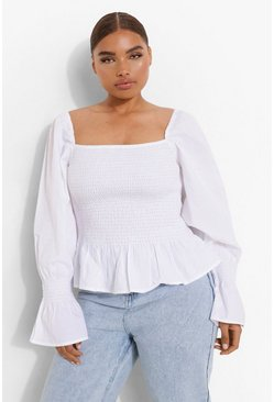 White Plus Shirred Puff Sleeve Peplum Top