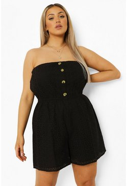 Black Plus Strapless Broderie Playsuit
