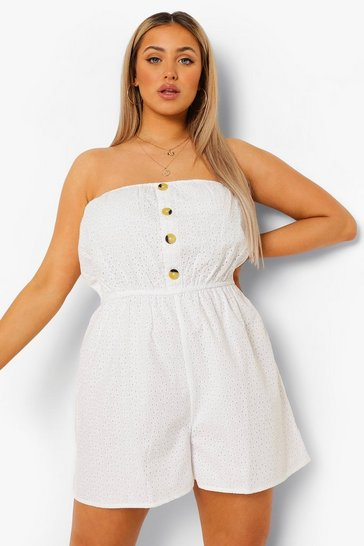 White Plus Broderie Bandeau Playsuit
