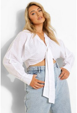 White Plus Broderie Puff Sleeve Top