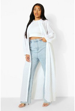 White Plus Broderie Maxi Shirt