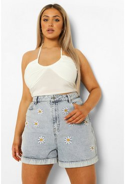 Plus Denim Daisy Mom Short, Ice blue