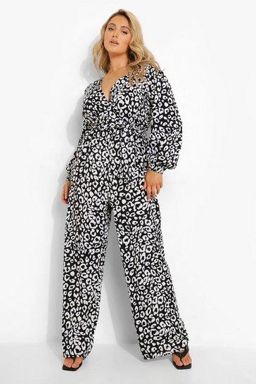 Black Plus Woven Animal Print Wrap Jumpsuit