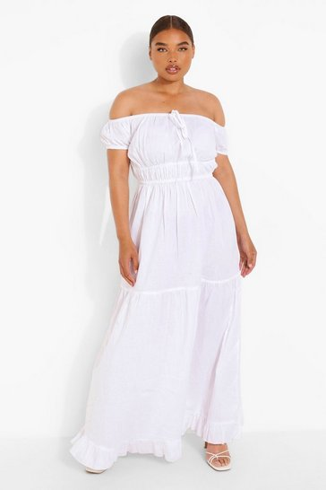 White Plus Woven Off Shoulder Tiered Maxi Dress