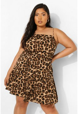 Plus Leopard Tiered Strappy Smock Dress