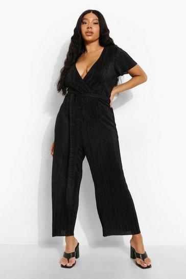 Black Plus Plisse Tie Belt Culotte Jumpsuit