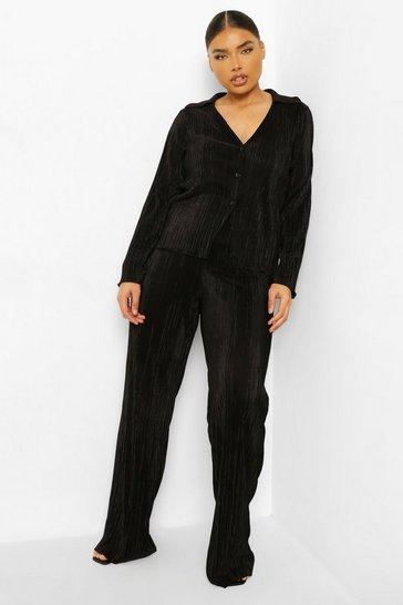 Black Plus Plisse Wide Leg Trousers