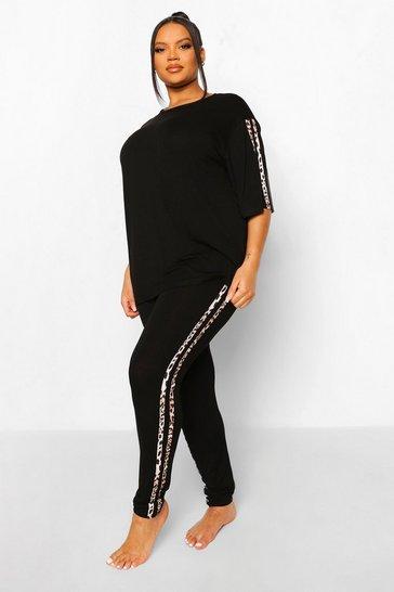 Black Plus Leopard Side Stripe Loungewear Set