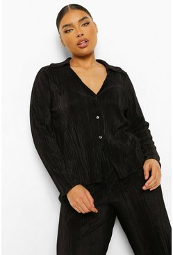 Plus Plisse Oversized Shirt, Black nero
