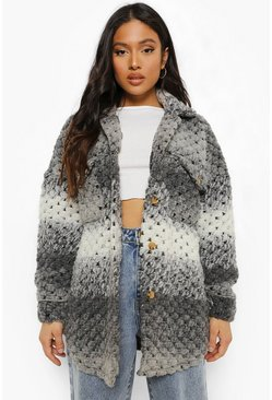 Grey Petite Ombre  Knitted Shacket