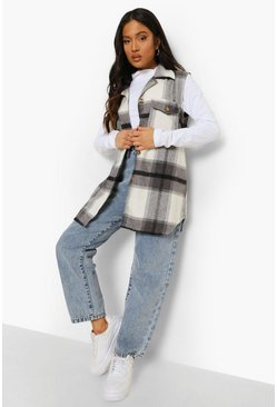 Grey Petite Sleeveless Check Shacket