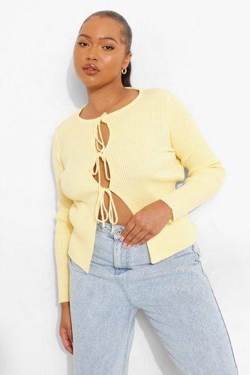 Lemon yellow Plus Knitted Lace Up Cardigan