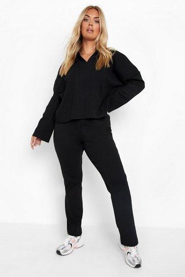 Black Plus Rib Knit Button Up Set