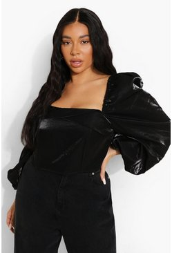 Black Plus Woven Balloon Sleeve Corset Top