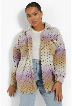 Lilac purple Plus Ombre Knitted Wool Shacket
